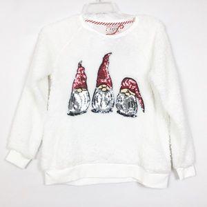 NWT Christmas Holiday Sequin Elf Gnome Sweatshirt